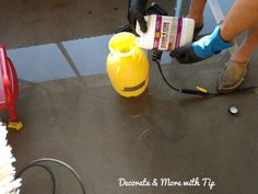 I am so happy on how my back porch concrete floor turned out. Since you are here, you must want to see how I mastered this look. Concrete Stain Colors, Painted Concrete Floors, Painting Concrete, Concrete Lamp, Concrete Design, Stained Concrete, Concrete Countertops, Plywood Floors, Laminate Flooring