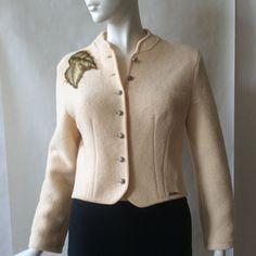 Geiger wool jacket, Austria, in a leaf appliqued deep cream textured knit… European Style, European Fashion, Princess Seam, Austria, Applique, Vintage Outfits, Size 10, Buttons, Deep