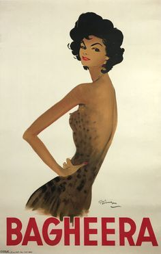 Bagheera original vintage poster by famous artist Jean Gabriel Domergue from 1930 France. Pose of beautiful black hair woman in panther dress on a off white background. Jean Gabriel Domergue, Beautiful Black Hair, The Inventors, If Rudyard Kipling, Global Art, Summer Shirts, Black Women Hairstyles, Famous Artists, Dark Hair