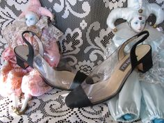 49da8410de s 90s Clear Plastic and Black Cloth Pumps Sling Back Pointed Pointy Toes  Low Heel Shoe Nu Goth Witch Witchy Aesthetic See Through Sandal 6.5