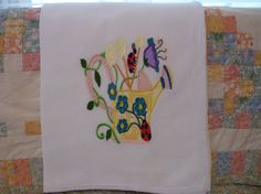 Watering Can Flour Sack Dish Towel by DMYEmbroideryDesign on Etsy, $5.50