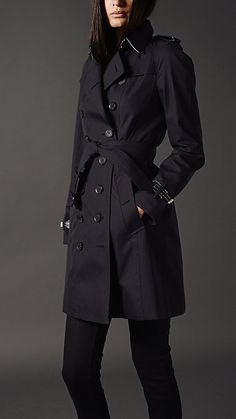Long Leather Detail Gabardine Trench Coat   Burberry