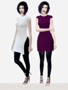 Salem2342: Long shirt with side slits • Sims 4 Downloads
