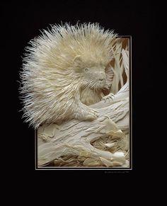 Art du découpage de papier L'art de l'artiste canadien Nicholls est à couper le souffle en fusionnant le haut-relief, le gaufrage et le collage pour arriver à une oeuvre de finesse poétique et de réalisme saisissant.