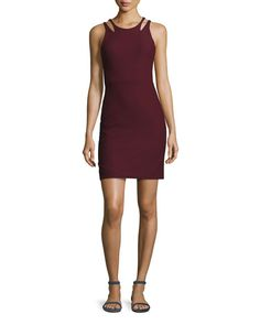 Everly Sleeveless Cutout Suiting Cocktail Dress, Wine