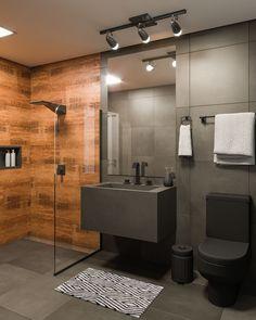 Leroy Merlin - Construction, Finishing, Decoration and Gardening, Small bathroom with industrial style black granite. Bathroom Design Luxury, Modern Bathroom Decor, Bathroom Layout, Modern Bathroom Design, Small Bathroom, Zen Bathroom, Man Cave Bathroom, Bathroom Vinyl, Gold Bathroom