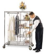 Valet hanging and shelf cart - 4 of these for bedroom pull-out wardrobe. wide x long; shelves & hanging rod are Shelving Design, Wire Shelving, Special Delivery, Wine Delivery, Wine Guide, Garment Racks, Basket Shelves, Wine Storage, Housekeeping