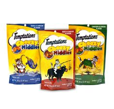Temptations Cat Treats Cheezy Middles Variety Pack - 3 Flavors (Tuna and Cheese, Chicken and Cheese, and Beef and Cheese Flavors) 3 Pouches - 2.47 Oz Each ** Check this awesome product by going to the link at the image. (This is an affiliate link and I receive a commission for the sales)