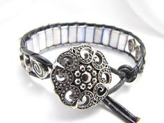 Black Leather Metal and Silver Boho Wire Wrap by PlethoraGifts, $18.00