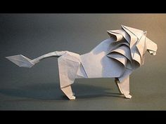 Lion of the paper. How to make origami lion Diy Origami, Origami Tutorial, Origami Lion, Origami And Kirigami, Origami Paper Art, How To Make Origami, Origami Instructions, How To Make Paper, Diy Paper