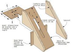 Gabarito pratico para se fazer falsa junção, reta ou rabo de andorinha, em caixas, gavetas, etc., utilizando-se a tupia de recorte, (pequena...