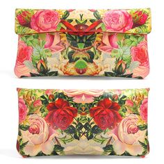 Leather Clutch bag decoupage Roses