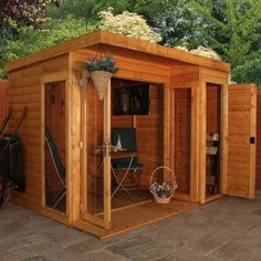 This attractive dual purpose summerhouse has a built in side shed to provide extremely convenient garden storage.  Built in Side Shed can be assembled on either the left-hand side or right-hand side Tongue and Groove construction throughout 10 Year Anti-Rot Guarantee