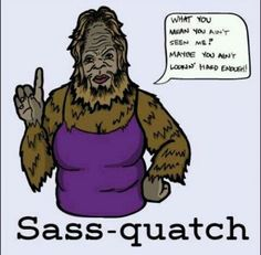 What you mean you aint seen me? Maybe you aint lookin hard enough. Sass-quatch.