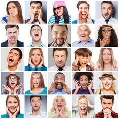Diverse People With Different Emotions. Stock Image - Image of collage, closed: 55809901
