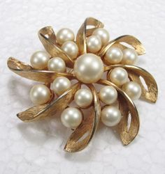 Vintage 1950's gold toned textured metal faux pearl by jewelry715, $10.00