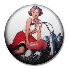 Vintage Retro Style Motorcyle Pin-up Girl Drawer Knob