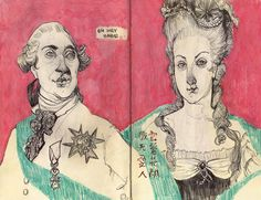 Silly little King Louis and Queen Marie have found their way into my sketchbook. Have a royally fine night, I still have France on the mind& Audrey Benjaminsen 2013 Art And Illustration, Pretty Art, Cute Art, Art Sketches, Art Drawings, Arte Sketchbook, Sketchbook Inspiration, Art Design, Art Inspo