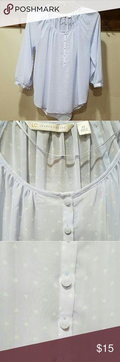 Heart Print Blouse Good used condition. Powder blue heart print blouse LC Lauren Conrad Tops Blouses