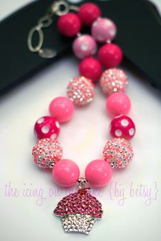 DIY Chunky Necklace Bead Kit - Cupcake - Rhinestone Pendant - Make your own chunky necklace