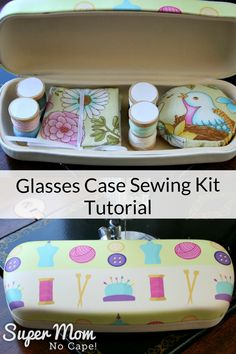 Sewing Gifts This adorable glasses case sewing kit tutorial is a super quick and easy project to make with step-by-step instructions and lots of detailed photos. It'll be a fun addition to your sewing supplies. Great gift idea too! Sewing Projects For Beginners, Easy Projects, Sewing Hacks, Sewing Tutorials, Sewing Kits, Tutorial Sewing, Sewing Ideas, Leftover Fabric, Glasses Case