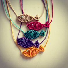 Macrame fish necklace - what if you made a bunch of these and tied them to a stick and made a cat toy? how to make macrame fish ile ilgili görsel sonucu DIY Beaded Bracelets DIY Beaded Bracelets You Bead Crafts Lovers Should Be Making Photo by DIY Projec Macrame Colar, Macrame Art, Macrame Necklace, Macrame Knots, Macrame Jewelry, Fabric Jewelry, Macrame Bracelets, Loom Bracelets, Diy Necklace