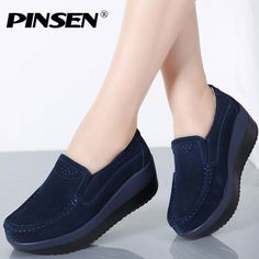 10487f7471b9 PINSEN 2018 Autumn Women Flat Platform Loafers Shoes Ladies Suede Leather  Hollow Casual Shoes Slip on Flats Moccasins creepers