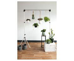 Pot de fleurs suspendu céramique, vert et brun - Ø12