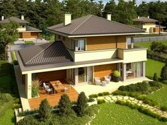 Double story house plan build on square meters Modern House Plans, Modern House Design, Style At Home, Double Story House, Storey Homes, Grand Homes, Roof Design, Stone Houses, Home Design Plans