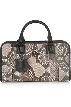 Loewe - Amazona Small Leather-trimmed Python Tote - Snake print