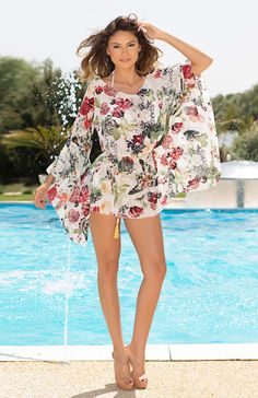 Colorful floral print is an easy way to capture the boho trend. Fiorella is a… Boho Style, Boho Chic, Boho Trends, Beachwear, Swimwear, Sheer Fabrics, Summer Looks, Day Dresses, Chic Outfits