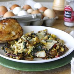 Egg, Cheese, and Swiss Chard Scramble via Dishing the Divine