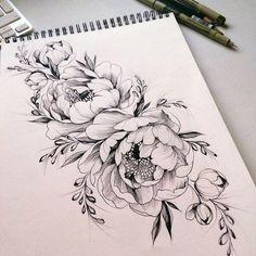 Bildergebnis für pfingstrosen tattoo - Tattoos - Tattoo Designs for Women Tatoo Flowers, Simple Flower Tattoo, Peonies Tattoo, Flower Tattoo Designs, Flower Tattoos, Drawing Flowers, Tattoo Simple, Henna Designs, Lotus Flowers