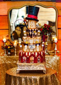 Vintage circus wedding cake on satinice.com | Sprinkles Custom Cakes
