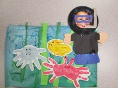 Under the Sea art project:  finger painted background, crepe paper seaweed, paper plate diver, and hand print sea creatures.