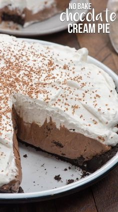 The BEST no bake Chocolate Cream Pie recipe has an Oreo crust and a thick layer of whipped cream. No bake, egg free and easy to make!