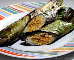 Grilled rice in banana leaf -  Ramadhan: Pulut Panggang
