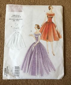 Vintage 50s Vogue Sewing Pattern Evening Wedding Prom Ball Gown Dress 1955…
