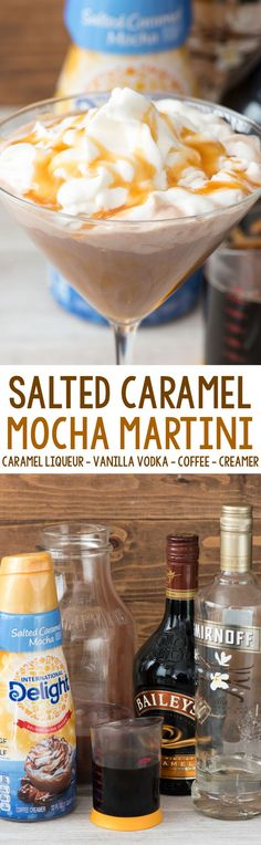 Salted Caramel Mocha Martini - an easy cocktail recipe made in minutes! Make it for one or make a pitcher for a crowd. Vodka, coffee, caramel liqueur, and coffee creamer combine for the BEST martini ever!