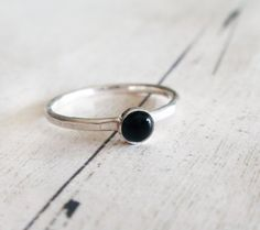 Black onyx ring black gemstone ring tiny black onyx by Lovender