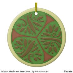 Folk Art Shrubs and Tree Circular Design Double-Sided Ceramic Round Christmas Ornament