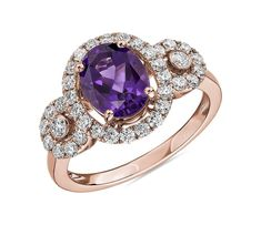 Oval Amethyst Ring with Diamonds in Rose Gold by Blue Nile Amethyst Wedding Rings, Crystal Engagement Rings, Shop Engagement Rings, Engagement Ring Styles, Wedding Ring Designs, Unique Rings, Beautiful Rings, Unique Jewelry, Gothic Steampunk