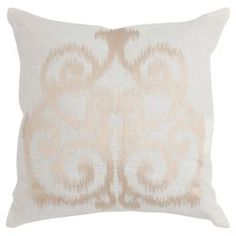Linen throw pillow in champagne with an ikat damask motif. Made in India.  Product: Set of 2 pillowsConstruction Material: LinenColor: ChampagneFeatures:   Made in IndiaInserts included Cleaning and Care: Dry clean recommended