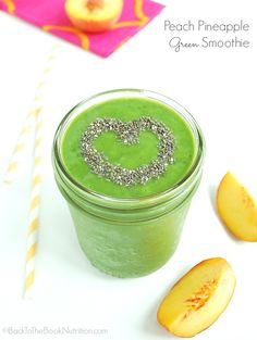 3-ingredient peach pineapple green smoothie recipe - perfect for a quick summer breakfast or lunch! | Back To The Book Nutrition