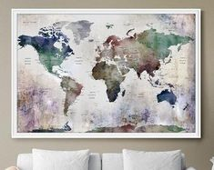 World Map Wall Art, world map push pin, Large watercolor wall art worldmap poster wall decor art print, Living room and office decor Large World Map Poster, Framed World Map, World Map Canvas, World Map Wall Art, Map Art, Art World, Watercolor Wall, World Map With Pins, Art Mat