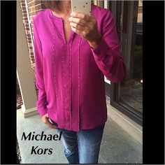Michael Kors top Fuchsia Mochael Kors top with gold studs. 100% polyester. Brand new. Michael Kors Tops Blouses