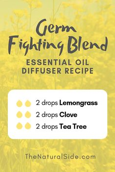 Germ Fighting Blend 2 drops Lemongrass + 2 drops Clove + 2 drops Tea Tree New to Essential Oils? Searching for Simple Essential Oil Combinations for Diffuser? Check out these 21 Easy Essential Oil Blends and Essential Oil Recipes Perfect for Beginners. Essential Oils For Pain, Clove Essential Oil, Essential Oil Diffuser Blends, Doterra Essential Oils, Lemongrass Essential Oil Uses, Yl Oils, Oils For Diffuser, Tea Tree Oil Diffuser, Homemade Diffuser