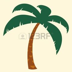 palm tree: Silhouette illustration of tropical palm tree with crown of green fronds symbolic of a tropical vacation and summer travel