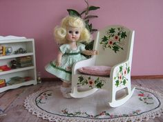 Vintage 50s Wooden Rocker w/ Hand Painted Flowers  by TheToyBox
