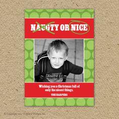 Naughty or Nice Christmas card fun holiday by saralukecreative, $15.00